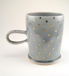 Gold Polka Dot Porcelain Mug