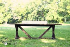 Ana White   Fancy X Farmhouse Table - DIY Projects