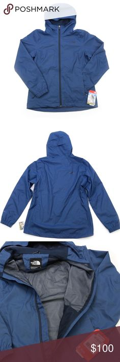 The North Face Quest Waterproof Jacket Shady Blue New with tags. Designed to be soft on the skin but hard on the rain, this renowned hooded waterproof shell is ideal for wet-weather adventures on the trail. DryVent™ fabric blocks out moisture inside and out, so you stay dry and focused all day. A brushed knit back neck and chin guard lining provide gentle comfort as the intensity increases, while adjustable elements ensure a snug fit as you go. The North Face Jackets & Coats Utility Jackets