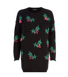 River Island Black Holly Bobble Jumper Dress | #christmas #fashion #style #holiday #xmasfashion #xmas