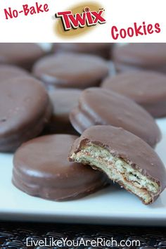 No bake Twix Cookie - wonder if you could do mini Reese's peanut butter cups  instead of Rolos -