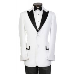 White Tuxedo with Black Peak Lapel - Includes Black Bow Tie!