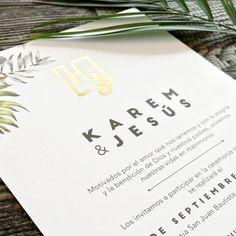 K & J. Wedding invitations. Invitaciones de boda. Papeleria social. Stationery. Hot stamping. Gold Foil. Monograma. Monogram. Destintation Wedding. Veracruz.