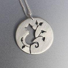 Silver Jewelry, Silver Pendant, Silver Jewellery, Cat Jewelry, Cat Pendant, Cat in Tree Pendant. #jewelrysilver #JewelrySilver