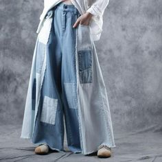 Buy Contrast Color Blue Patchwork Palazzo Pants Wide Leg Frayed Jeans in Jeans online shop, Morimiss offers Jeans to make you feel comfortable Jeans Material, Ankle Length Pants, Wide Leg Pants, Denim Fashion, Fashion Pants, Milan Fashion, Gothic Fashion, Moda Hippie, Muslim Fashion