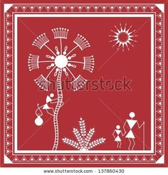 Find Indian Tribal Painting Warli Painting stock images in HD and millions of other royalty-free stock photos, illustrations and vectors in the Shutterstock collection. Worli Painting, Painting Wallpaper, Madhubani Art, Madhubani Painting, Kalamkari Painting, Wall Drawing, Art Drawings, African Art Paintings, Art Premier