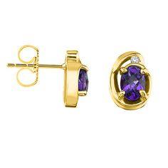 Becker's Jewelry Corp - 14K Yellow Gold Royal Purple Amethyst & Diamond Push Back Earrings