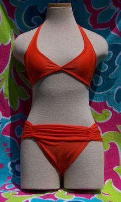 Orange halter top bikini, full coverage bottom in Brazilian Swimsuit Blowout!!