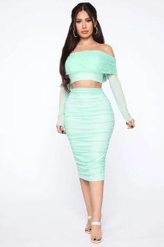 Mesh Midi Skirt SetOff Shoulder TopClear Spaghetti StrapsLong SleevesCroppedLinedMidi SkirtRuchedLinedStretchSelf Polyester SpandexLining PolyesterMade In U. Classy Outfits, Beautiful Outfits, Classy Clothes, Girl Fashion, Fashion Outfits, Fashion Sets, Fashion Clothes, Nova Dresses, Peplum Dresses