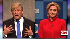With 72 hours remaining until Election Day, Hillary Clinton (Kate McKinnon) and Donald Trump (Alec Baldwin) appear on Erin Burnett  OutFront. [Season 42, 2016]