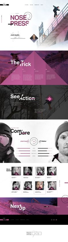 Ffictional Ui design site concept about learning tricks from pro snowboarders and comparing their skills. By Ben Johnson @ElegantSeagulls