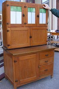 Vintage Hoosier Style Kitchen Cupboard Cabinet w Rollers Copper Stained Glass   eBay