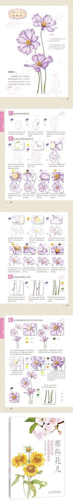 《那些花儿:40种花卉的色铅笔细致彩绘 》