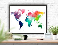 World Map Watercolour Print, Map Art Print, Wall Decor, Home Decor , Instant Download ,Home & Living , Printable Art Map Poster