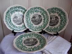 "Vintage Set of 4 Copeland Spode ""Beverley""  Dinner Plates in a Rare 2 color…"