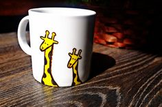 Giraffe White Ceramic Mug, Porcelain ceramics pottery, Hand Painted Gift, Tea Coffee Cup