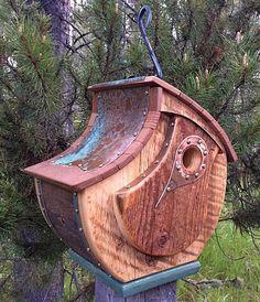 """Único Barnwood Birdhouse Handmade reycled recuperado presente de casamento # 0626 Dia do Pai Dimensões: geral - 10,5 x 11 """"x 7,5"""" Interior Andar - 4.25 """"x 4.25"""" buraco de entrada - 1.125 """", altura 5.25"""" Personalizado $195"""