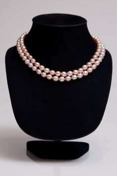 Classic pearls double strand for double effect. Available pink or white