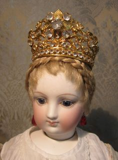 Spectacular Ormolu and Paste Crown or Tiara for French Fashion from mllebereux on Ruby Lane