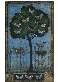 Kirsi Neuvonen. Perhospuu, 1996, 33x20 cm Memento Vivere, Shady Tree, Butterfly Art, Tree Art, Printmaking, Designer, Art Drawings, Illustration Art, Arts And Crafts