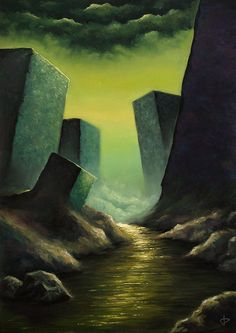 """The Dream-Quest of Unknown Kadath  - 29 x 20"""" oil painting on canvas. Based on a Lovecraft tale. by RugidoArt on Etsy"""