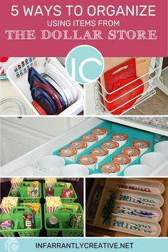 Organization makes me happy. Opening a drawer and knowing exactly where something in brings such a feeling of calm to me. The organizational aisle at stores always have me drooling. And what could be better than getting those products for a buck?? Your local dollar store has tons of great ways to tackle the mess and mayhem in your home. So there's no reason not to get organized. Check out these great ideas for $1. Dollar Store Hacks, Dollar Stores, Diy Storage, Diy Organization, Laundry Room Remodel, Drip Painting, Diy For Teens, 5 Ways, Diy Projects