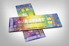 Colorful event ticket by studioweb on @creativemarket