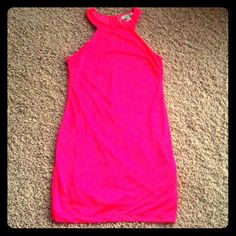 "Forever 21 dress Forever 21 pink/coral dress.  Size M.  She'll and lining are 100% polyester.  Sorry but I don't model, so here are measurements:  31"" height from neck to hem, bust and waist is 31"".  No trade, and I don't do PayPal. Forever 21 Dresses"