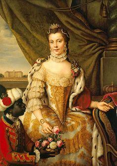 Portrait of Queen Charlotte (1744-1818) when Princess Sophie Charlotte of Mecklenburg-Strelitz ,1761, Johann Georg Ziesenis