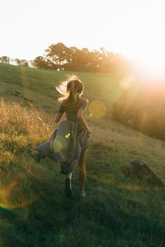 Chasing the sun - running barefoot on the meadow, wild and free. Feeling that…