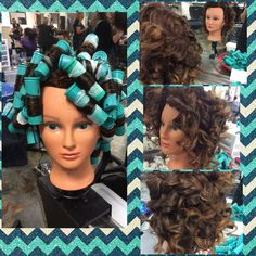 Inspiration by Hannah Kerney from Everett Community College Cosmetology. Spiral perm using teal big rods #spiralperm#specialtywrap#tealrods @bloomdotcom