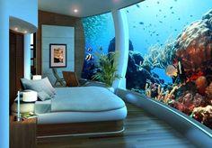 Poseidon Undersea Resort: The Underwater Hotel Fiji : Underwater bedroom Poseidon Undersea Resort Fiji. Hotel Subaquático, Hotel Decor, Hotel Lobby, Lobby Lounge, Ice Hotel, Hotel Suites, Poseidon Undersea Resort, Home Design, Interior Design