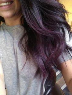 dark brunette hair with subtle purple tint Dark Purple Hair Dye, Violet Hair, Purple Ombre, Purple Grey, Purple Tinted Hair, Purple Tips, Burgundy Hair, Dark Plum Brown Hair, Brown Hair With Purple Highlights