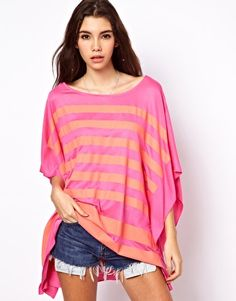 Image 1 of ASOS Oversized T-Shirt in Block Stripe £10 Bell Sleeve Top, Blouses, Asos, Tunic Tops, Shirt Blouses, Blouse, Sweatshirts, Woman Shirt