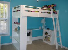 How To Build a Loft Bed – Free detailed plans. Built something similar for my college apt, but sized for a full mattress and using an old door for the (very large) desk.