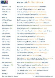 Sprakukos DaF-/DaZ-Blog. Deutsch lernen. Verben mit Genitiv. In unserer Übersicht finden Sie Verben mit Genitivergänzung sowie Beispielsätze. Study German, German English, German Grammar, German Words, Verben Mit Dativ, German Resources, Deutsch Language, Application Cover Letter, Linking Words