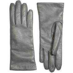 Brooks Brothers Cashmere Lined Leather Gloves ($138) ❤ liked on Polyvore featuring accessories, gloves, grey, brooks brothers, gray gloves, cashmere lined gloves, leather gloves and lined gloves
