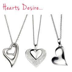 Pretty heart pendant designs in sterling silver at Uneak Boutique.