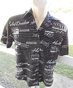 Harley Davidson Womens Button Up Shirt Blouse Black With Script Writing Sz XS #HarleyDavidson #ButtonDownShirt