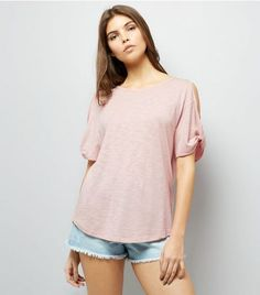 Mink Twist Sleeve Cold Shoulder T-Shirt | New Look