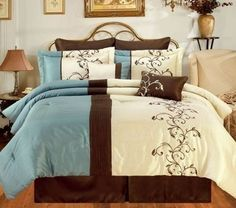 teal and brown bedding set