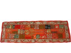 Red Vintage Table Runner Sari Tapestry Art Decor 60 X 20 Mogul Interior http://www.amazon.com/dp/B00L6ACCFE/ref=cm_sw_r_pi_dp_P24Qtb1E3TZ8G9HT