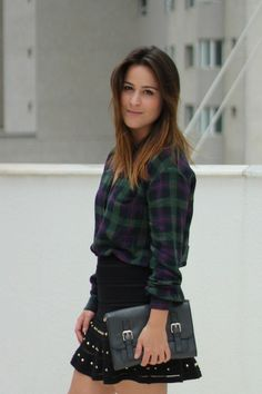Look camisa xadrez + saia