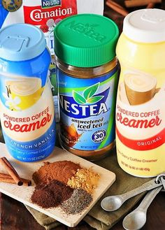 Ingredients to make Homemade Chai Tea Latte Mix image Tea Mix Recipe, Chai Tea Recipe, Latte Recipe, Yummy Drinks, Healthy Drinks, Tea Recipes, Cooking Recipes, Homemade Chai Tea, Comida India