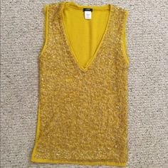 Jcrew bedazzled mustard tank You will get so many compliments on this top. Great to wear to a nice dinner, night out with the girls, or work event! Has lots of stretch J. Crew Tops Tees - Short Sleeve
