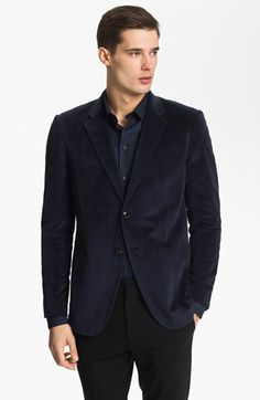 Armani Collezioni Velvet Sportcoat. E wore this jacket last night at a premier. Love it! Paired it with a bordeaux fitted shirt.