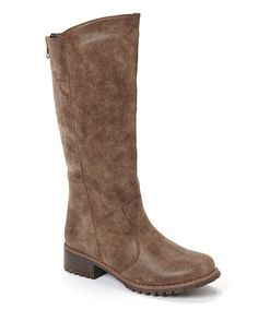 Take a look at this Brown Outlaw Tall Boot by Anna Shoes on #zulily today! LOVE!