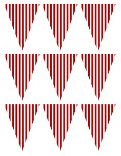 FREE printable red striped party pennant banner! Modern French Bulldog and Friends dog birthday party by Karas Party Ideas | KarasPartyIdeas.com with FREE PRINTABLE PLACE CARDS, TAGS, BACKDROP, SIGNS AND MORE!