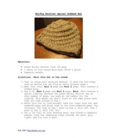 Knifty Knitter Spiral Ribbed Hat