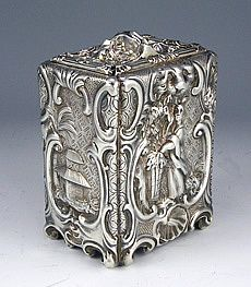 Tea caddy- George and Charles Fox Roccoco Sterling Silver Tea Caddy, Tea Canisters, Tea Tins, Vintage Silver, Antique Silver, Tea Strainer, Antique Boxes, Tea Caddy, Teapots And Cups, Parasol